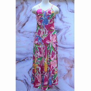 Vintage Silk Floral Flowing Midi Sundress Sz 8